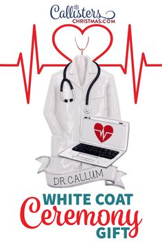 Our personalized Christmas ornaments are a great gift for a doctor, medical student or as a White Coat Ceremony gift. Doctors study and work very hard to earn the opportunity to wear a laboratory coat. While this white coat's purpose is to simply protect the doctor's clothing and act as a simple uniform, the symbolism of the coat is greater than its function. Celebrate the doctor in your family with this Doctor Coat with Laptop ornament. It's also a great way to thank any doctor for all they do White Coat Ceremony, Doctor Coat, Old World Christmas Ornaments, Personalized Christmas Ornaments, Medical School, How To Make Ornaments, Doctors, Laptop