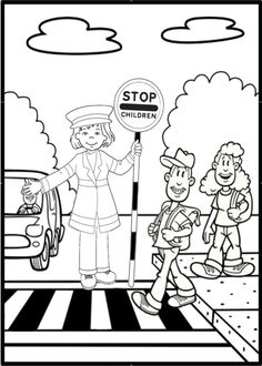 Olivia Road Safety Colouring Page More