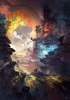 Digital Painting / Concept Art / Landscape / SciFi / Science Fiction / Other Planet / Future / Surreal / Mystic / Fantasy //♥ Fantasy Art Landscapes, Fantasy Landscape, Fantasy Artwork, Landscape Art, Fantasy Places, Fantasy World, Anime Kunst, Anime Art, Photos Originales