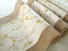 Burlap Table Runner . Embroidered rustic table runner. Handmade in the USA . Ready to ship