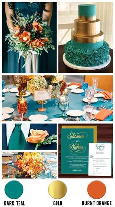 Teal Fall Wedding, Gold Wedding Colors, Gold Wedding Theme, Wedding Color Schemes, Dream Wedding, Wedding Colors For May, Teal Wedding Cakes, Teal Wedding Decorations, Teal Centerpieces