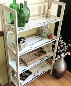 Medium White Distressed Bookshelf