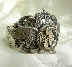 Monstrous Large and Bold Steampunk Cuff by PersephonePlus on Etsy