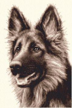 GERMAN SHEPHERD, ALSATIAN dog, puppy Counted cross stitch kit + all materials