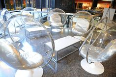 The pre-party cocktail reception took on a futuristic, mad scientist look that included clear bucket chairs.