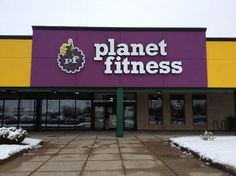 Planet Fitness Channel Letter Sign and Huge Logo Outdoor Signs, Indoor Outdoor, Channel Letter Signs, Commercial Signs, Evansville Indiana, Sign Company, Planet Fitness Workout, Fitness Photos, Business Signs