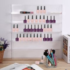 Nail Polish Rack Wall Display Bottles Holder Acrylic Manicure Pedicure Clear  #Unbranded