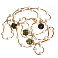 Suede Pearl Lariat with Gold