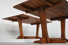 Even the underneath of George Nakashima's work is impeccable. Conoid Dining Tables 1960s, 1970s  Rosewood & walnut materials.