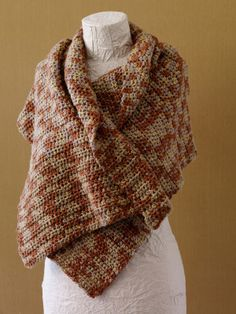 Free Crochet Pattern L0246B Caramel Tweed Shawl : Lion Brand Yarn Company