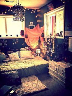 "Bedroom w/ Dark Walls, ""Fairy Lights"" & LOTS of Personality ☂ ☻  ☻  ☺"