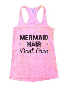 Mermaid Hair Dont CareWomen Gym Burnout Tanktop Squatting Lifting Funny Workout Shirt (Small, Light Pink)