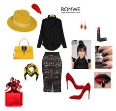 """""""Romwe#yellow#red#black"""" by aamila12345678 ❤ liked on Polyvore featuring Ted Baker, Gucci, Christian Louboutin, Moschino, Maison Michel, Anne Klein, Lipstick Queen and Marc Jacobs"""