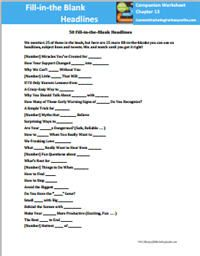 Better Subject Lines and Headlines for Non-Profits: Blank Headlines Worksheet