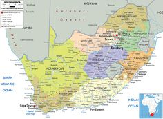 Detailed large political map of South Africa showing names of capital cities, towns, states, provinces and boundaries with neighbouring countries.