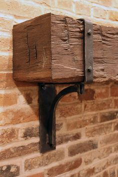 Mantle Brackets, detail : Heavy square wooden beam on metal brackets.Mantle Brackets, detail, by Maynard Studios. Fireplace Redo, Fireplace Remodel, Fireplace Design, Fireplace Ideas, Small Fireplace, Rustic Fireplace Mantle, Farmhouse Fireplace, Shiplap Fireplace, Mantle Ideas