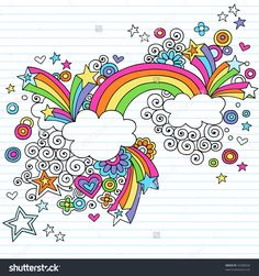 Hand-Drawn Psychedelic Rainbow, Clouds, And Stars Notebook Doodle On Lined Paper Background- Vector Illustration - 41688556 : Shutterstock