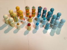 DIY chess set - thread spools and beads. Made for my daughter's class auction project.