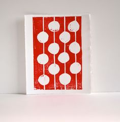Modern Decor Red and White Print Linocut Art  by RetroModernArt