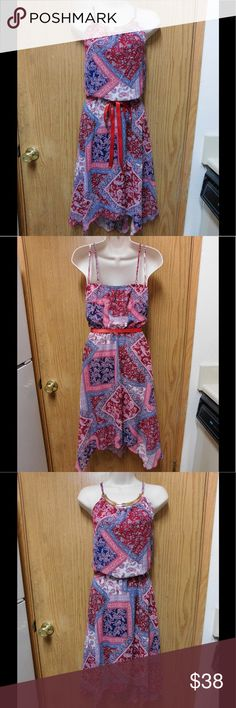 Chic Red/Blue Bandana Dress W/Golden Detail & Belt NWOT. This is a really beautiful and charming dress. Belt included. Soft and comfy material. Gorgeous colors and exclusive design. Size 16 - Save $$$ on bundles. Dresses