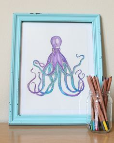 DIY watercolor painting octopus.
