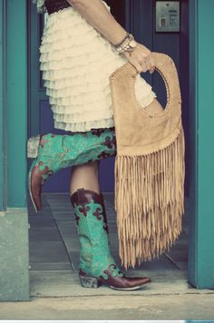 Our signature ruffled dress, turquoise & brown boots and fringe bag