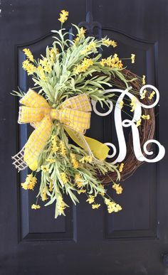 Grapevine Wreath - Monogram Wreath - Summer Wreath for door Wreath - Wreath… Wreath Crafts, Diy Wreath, Grapevine Wreath, Wreath Ideas, Monogram Wreath, Vine Monogram, Wreath Making, Front Door Decor, Wreaths For Front Door