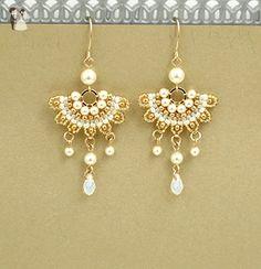 Handmade Drops Chandelier Swarovski Simulated Pearl Goldfilled Beaded Bridal Earrings - Wedding earings (*Amazon Partner-Link)