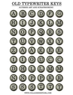 Printable Vintage Papers: Vintage Typewriter Keys 100 Collage Sheet Give Away