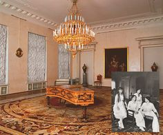Only one interior has survived from the apartments of Empress Alexandra Feodorovna: the Corner Drawing Room. OTMA's final formal portraits were taken in this room of the Alexander Palace. It was one of the few rooms not destroyed during Nazi occupation.