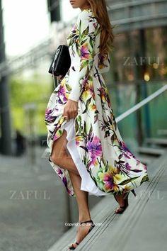 Long Sleeve Floral Print Maxi Dress WHITE: Maxi Dresses | ZAFUL