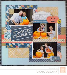 grid with an extra photo- background = gold square, other patterned papers built on top of this square.