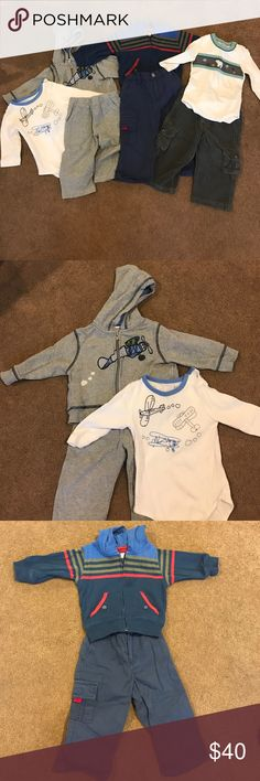 Hartstrings/kitestrings boys clothing Hartstrings/kitestrings clothing in good condition. All size 12 months. Three outfits. Airplane sweatshirt, matching onesie, and sweat pants in good condition, has some wear. Navy striped zip up hooded sweatshirt with navy cargo pants in great condition. Polar bear onesie with matching grey cord cargo pants with some wear. Matching Sets