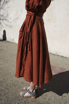 Black Crane Wrap Skirt in Brick | Oroboro | Brooklyn, New York