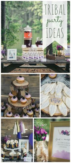 A Native American inspired tribal girl birthday party in purple and plum colors with gold accents! See more party planning ideas at CatchMyParty.com!