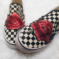 83f25d756 Unisex Checkered Slip On Custom Rose Floral Embroidered Patch Vans