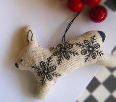 Blackwork Stitched Folk Art Rabbit  Bunny Christmas Ornament
