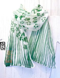 Hand Painted Silk Scarf, Moss Green Floral Scarf