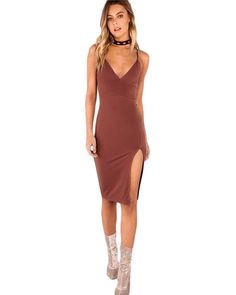 9b93605beed Sexy Bodycon Party Dress Women Brown V Neck Side Split Slim Summer Cami  Dresses Fashion Elegant Club Midi Dress Oh Yeah Visit our store
