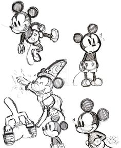 black and white vintage mickey sketches - Google Search