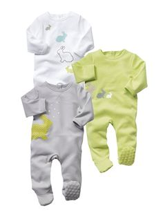LOVE 3-6 Baby *Happy Price Pack of 3 sleepsuits PISTACHIO + GREY + WHITE Pyjamas, Gender Neutral Colors, Unisex Baby, Grey And White, Rompers, Baby Things, Rabbits, Clothes, Fashion