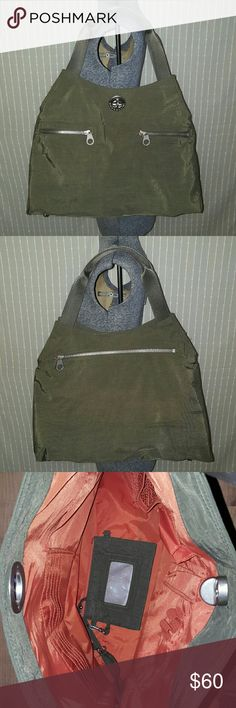 NWOT Baggallini Green Tote Bag Baggallini olive green nylon tote bag with orange interior. 19 x 14 x 5 inches. 3 pockets on front and 1 large pocket on bag. Numerous small pockets inside.  Comes with a coin purse. Baggallini Bags Totes