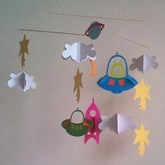 Cute cardboard Space nursery mobile by verycute on Etsy, $17.50