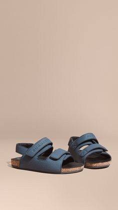 Cork Detail Leather Sandals Dark Mineral Blue | Burberry