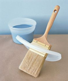 Cut a slip in a plastic lid and slide it over your paintbrush to control paint splatter.