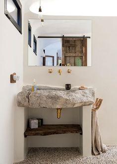 Chic Mountain Home in Mallorca, Spain Bad Inspiration, Bathroom Inspiration, Inspiration Boards, Modern Bathroom, Small Bathroom, Stone Bathroom, Casa Petra, Dream Bathrooms, Bathroom Interior Design
