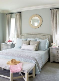 Possible wall color-Benjamin Moore Gray Wisp. Beautiful gray with a lot of depth (slight green/blue undertone) House of Turquoise: Andrew Howard Interior Design Home Bedroom, Modern Bedroom, Master Bedroom, Bedroom Decor, Bedroom Wall, Bedroom Ideas, Trendy Bedroom, Bedroom Night, Bedroom Curtains