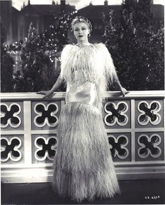 """Ginger Rogers, 1935, in the famous """"feather dress"""" she designed herself for the """"Cheek to Cheek"""" number in Top Hat (Mark Sandrich, 1935)"""