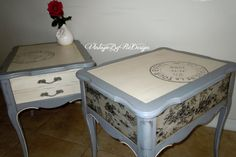 Hand Painted Vintage French Provincial Side by VintageByReDesign, $159.00 Decoupaged in french toile sides and back