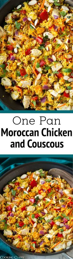 One Pan Moroccan Chicken and Couscous - this is one of my favorite one pan dinners to date! It has a delicious blend of flavors and textures, it's a healthy dinner, and it's brimming with those irresistible deliciously spiced Moroccan flavors. #easy #healthy #onepan #moroccan #couscous #chickenrecipe via @cookingclassy